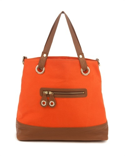 Ted Baker   Killan   Canvas Shopper - predominant colour: bright orange; style: shoulder; length: shoulder (tucks under arm); size: standard; material: fabric; embellishment: zips; pattern: two-tone