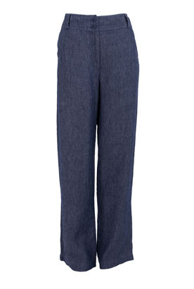Indigo Denim Linen Wide Leg Trousers - length: standard; pocket detail: small back pockets, pockets at the sides; waist detail: wide waistband/cummerbund; waist: high rise; predominant colour: navy; occasions: casual, work; fibres: linen - 100%; material texture: denim; texture group: denim; fit: wide leg; style: standard