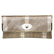 Blopez  Metallic Snake Print Clutch Bag - predominant colour: gold; type of pattern: light; style: clutch; length: hand carry; size: standard; material: leather