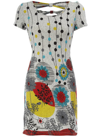 Grey Floral Print Dress - style: shift; length: mid thigh; pattern: print, abstract, graphic print, patterned/print; waist detail: fitted waist; back detail: tie detail at back, low cut/open back, embellishment at back; hip detail: fitted at hip; predominant colour: mid grey; occasions: casual, evening; fit: body skimming; neckline: scoop; fibres: polyester/polyamide - stretch; material texture: chiffon; trends: prints; sleeve length: short sleeve; sleeve style: standard; texture group: sheer fabrics/chiffon/organza etc.; pattern type: fabric; pattern size: standard