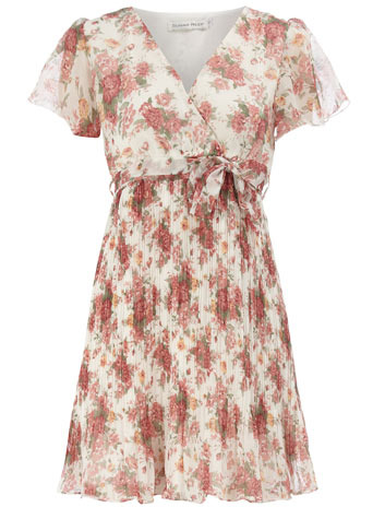 Beige V Neck Floral Dress - style: tea dress; length: mini; neckline: v-neck; sleeve style: angel/waterfall; fit: fitted at waist; pattern: floral - busy, floral - light, florals; waist detail: fitted waist, belted waist/tie at waist/drawstring; occasions: casual; fibres: cotton - 100%; material texture: chiffon; predominant colour: multicoloured; trends: prints; sleeve length: short sleeve; texture group: sheer fabrics/chiffon/organza etc.; pattern type: fabric; pattern size: small &amp; light