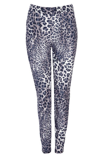 Grey Leopard Tapered Trousers - length: standard; waist: mid/regular rise; predominant colour: mid grey; occasions: casual, evening; fibres: polyester/polyamide - 100%; material texture: denim; waist detail: narrow waistband; trends: prints; texture group: denim; fit: tapered; style: standard