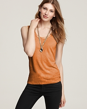 Brady Knit Tank - pattern: plain; sleeve style: sleeveless; style: vest top; predominant colour: bright orange; occasions: casual; length: standard; neckline: scoop; fibres: linen - mix; material texture: jersey; fit: body skimming; trends: brights; sleeve length: sleeveless; pattern type: fabric; pattern size: standard; texture group: jersey - stretchy/drapey