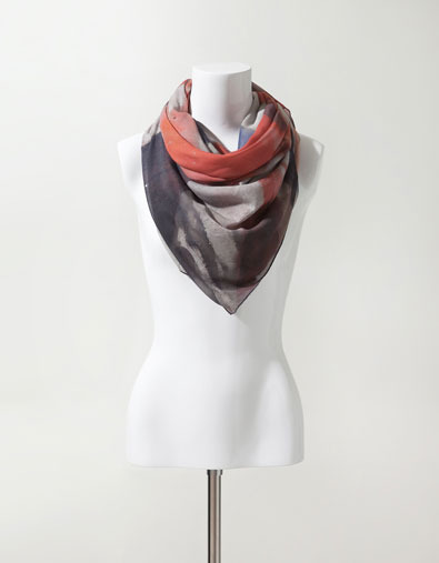 Flag Print Scarf - predominant colour: charcoal; type of pattern: standard; style: square; size: large; material: fabric; pattern: abstract, picture design, patterned/print