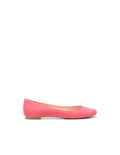 Glove Ballerina - predominant colour: coral; material: faux leather; heel height: flat; toe: round toe; style: ballerinas / pumps