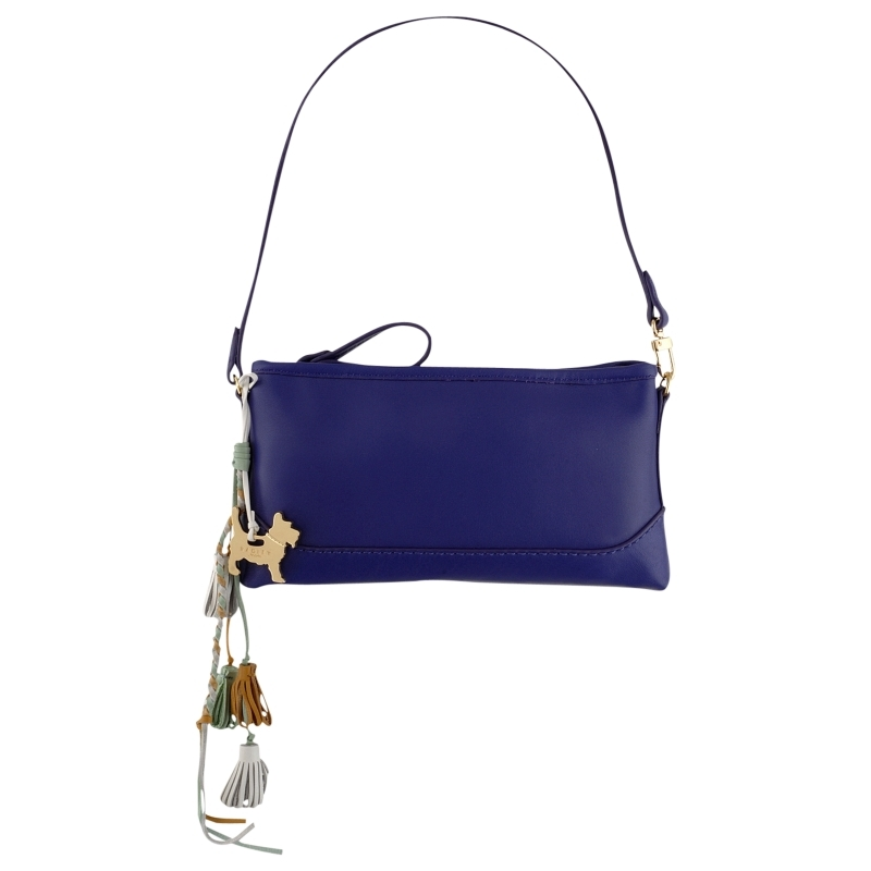 Whitmore Wristlet Handbag, Purple - predominant colour: navy; style: shoulder; length: shoulder (tucks under arm); size: small; material: leather; embellishment: tassels