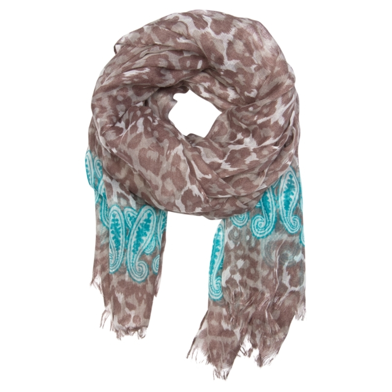 Animal Print Scarf, Chocolate - predominant colour: chocolate brown; type of pattern: heavy; style: regular; size: standard; material: fabric; embellishment: embroidered; pattern: animal print