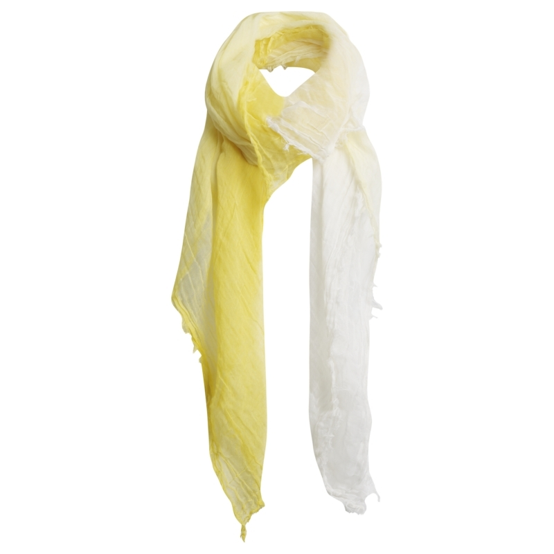 Florance Ombre Cotton Scarf, Lemon - predominant colour: primrose yellow; type of pattern: standard; style: skinny; size: standard; material: fabric; pattern: two-tone