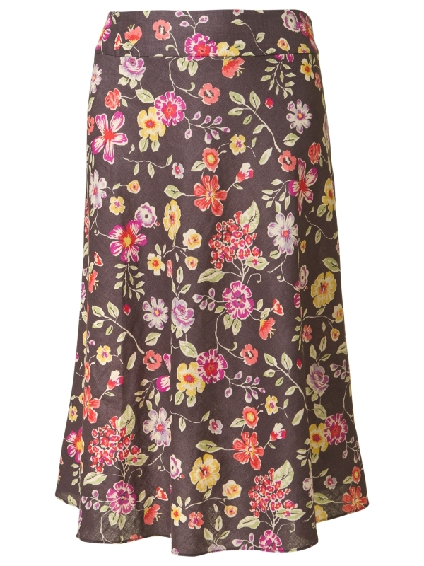 Petula Print Linen Skirt, Pottery - length: calf length; pattern: floral - busy, florals; fit: tailored/fitted; waist detail: fitted waist, narrow waistband; waist: mid/regular rise; predominant colour: chocolate brown; occasions: casual, work; style: fit &amp; flare; fibres: linen - 100%; material texture: chiffon; hip detail: soft pleats at hip/draping at hip/flared at hip; trends: prints; texture group: sheer fabrics/chiffon/organza etc.; pattern type: fabric; pattern size: small &amp; busy