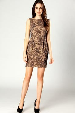 Carly Lace Shift Dress With Pleat - style: shift; length: mid thigh; neckline: slash/boat neckline; fit: tailored/fitted; pattern: plain, lace; sleeve style: sleeveless; waist detail: twist front waist detail/nipped in at waist on one side/soft pleats/draping/ruching/gathering waist detail; predominant colour: camel; occasions: evening, occasion; fibres: polyester/polyamide - stretch; material texture: lace; trends: prints; sleeve length: sleeveless; texture group: lace; pattern type: fabric; pattern size: standard