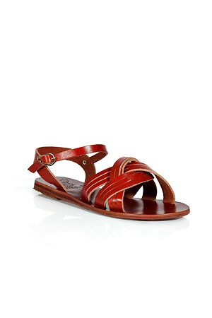Terracotta Electra Flat Sandals - predominant colour: terracotta; material: leather; heel height: flat; ankle detail: ankle strap; heel: standard; toe: open toe/peeptoe; style: standard