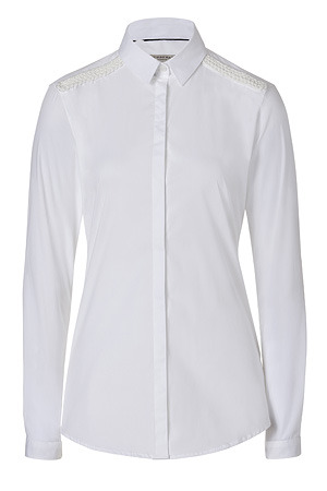 White Embroidered Top - neckline: shirt collar/peter pan/zip with opening; pattern: plain; style: shirt; predominant colour: white; occasions: casual, work; length: standard; fibres: cotton - mix; material texture: tulle; fit: body skimming; sleeve length: long sleeve; sleeve style: standard; texture group: sheer fabrics/chiffon/organza etc.; pattern type: fabric; pattern size: standard; embellishment: embroidered