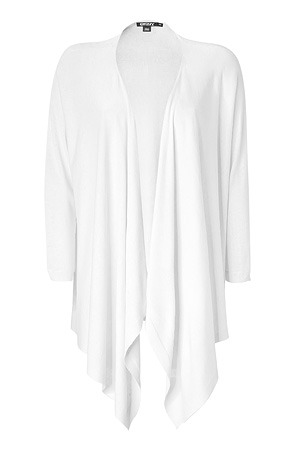 White Silk Cashmere Blend Cardigan - pattern: plain; neckline: waterfall neck; bust detail: ruching/gathering/draping/layers/pintuck pleats at bust; style: open front; predominant colour: white; occasions: casual, evening, work; length: standard; fibres: silk - mix; material texture: denim; fit: loose; trends: white; sleeve length: 3/4 length; sleeve style: standard; texture group: denim; pattern type: knitted - other; pattern size: standard