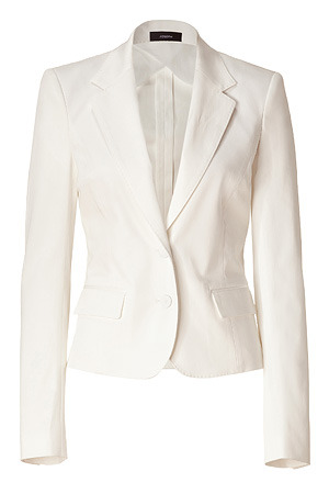 Ecru Cotton Stretch Two Button Blazer - pattern: plain; style: single breasted blazer; hip detail: side pockets at hip; length: below the bottom; fit: slim fit; collar: standard lapel/rever collar; predominant colour: ivory; occasions: casual; fibres: cotton - mix; material texture: denim; waist detail: fitted waist; sleeve length: long sleeve; sleeve style: standard; texture group: denim; pattern type: fabric; pattern size: standard