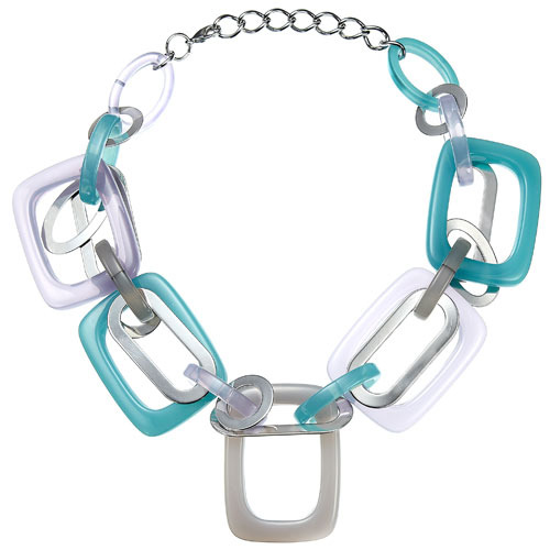 W Tarte Necklace - predominant colour: turquoise; style: standard; length: short; size: large/oversized; material: plastic/rubber