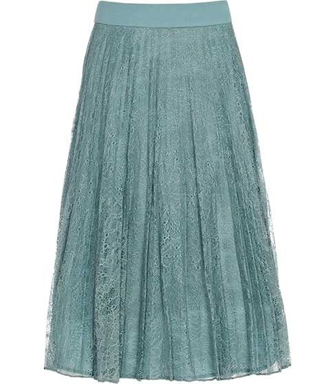 Juniper Pleated Lace Skirt - pattern: plain, lace; fit: loose/voluminous; style: pleated; waist detail: wide waistband/cummerbund, narrow waistband; waist: mid/regular rise; predominant colour: pistachio; occasions: casual, evening, occasion; length: on the knee; fibres: polyester/polyamide - 100%; material texture: lace; trends: pastels, aquatic; texture group: lace; pattern type: fabric; pattern size: standard