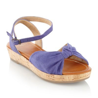 Blue Suede Wedge Sandals - predominant colour: indigo; material: suede; heel height: mid; embellishment: buckles; ankle detail: ankle strap; heel: wedge; toe: open toe/peeptoe; style: standard
