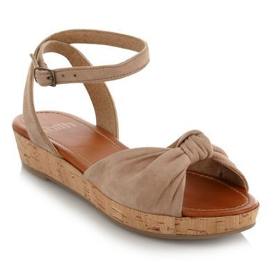 Natural Suede Wedge Sandals - predominant colour: camel; material: suede; heel height: mid; embellishment: buckles; ankle detail: ankle strap; heel: wedge; toe: open toe/peeptoe; style: standard