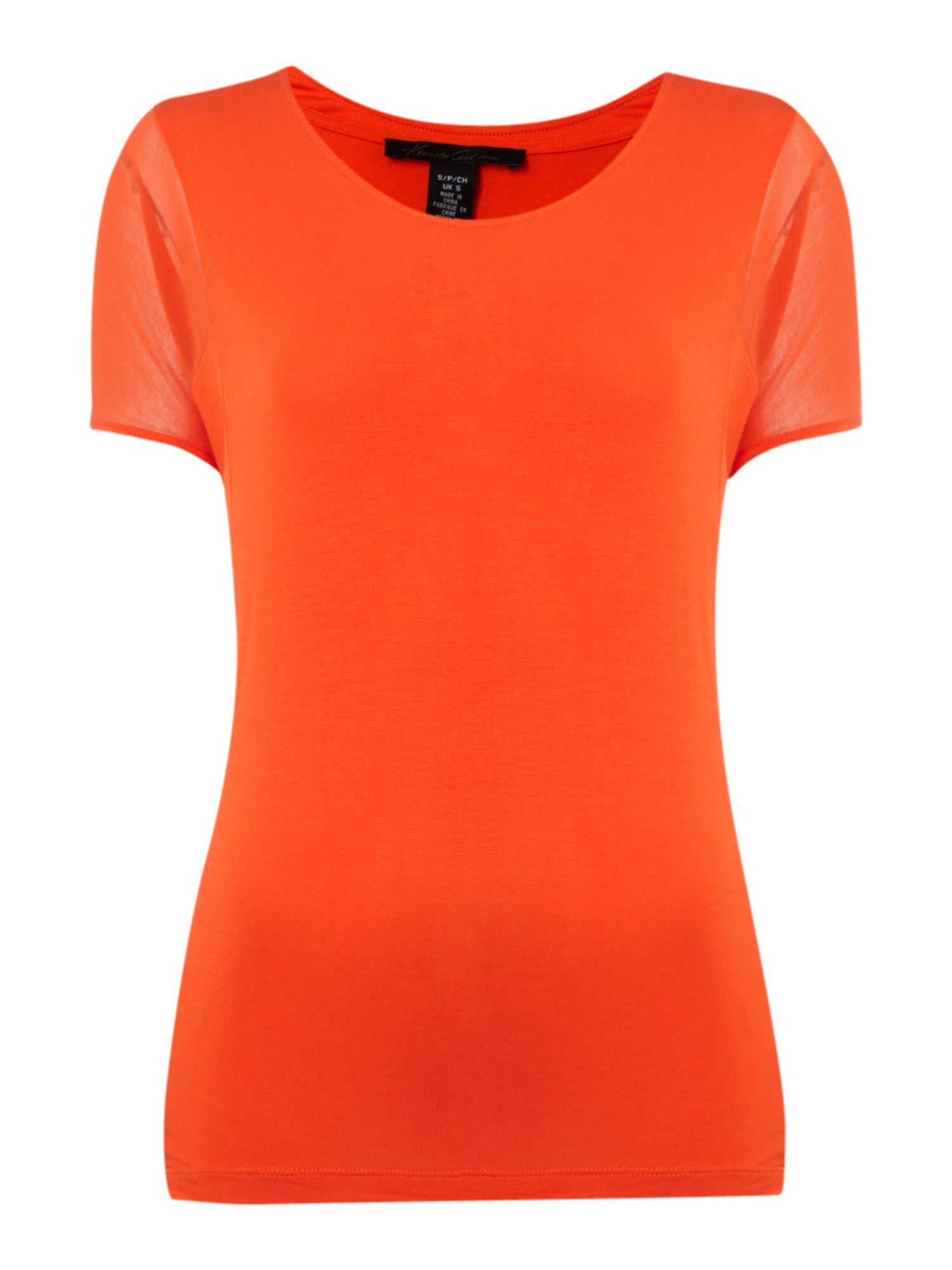 Women's Oversized Tee Shirt, Coral - neckline: round neck; pattern: plain; waist detail: fitted waist; style: t-shirt; predominant colour: coral; occasions: casual; length: standard; fibres: polyester/polyamide - stretch; material texture: jersey; fit: body skimming; trends: brights; sleeve length: short sleeve; sleeve style: standard; pattern type: fabric; pattern size: standard; texture group: jersey - stretchy/drapey