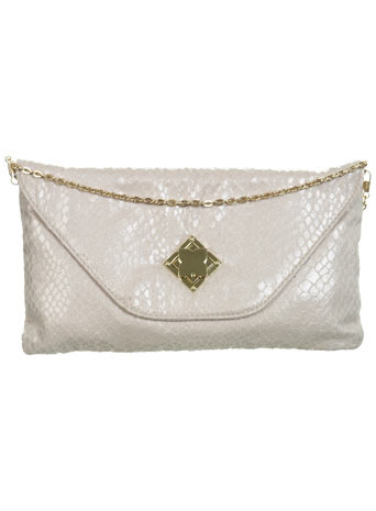 Cream Clutch With Flower Lock - predominant colour: light grey; type of pattern: light; style: clutch; length: hand carry; size: small; material: faux leather; embellishment: animal print; pattern: animal print, metallic, plain; finish: metallic