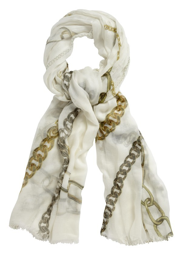 Rings Scarf Off White - predominant colour: white; type of pattern: light; style: regular; size: standard; material: silk; pattern: abstract, picture design, patterned/print