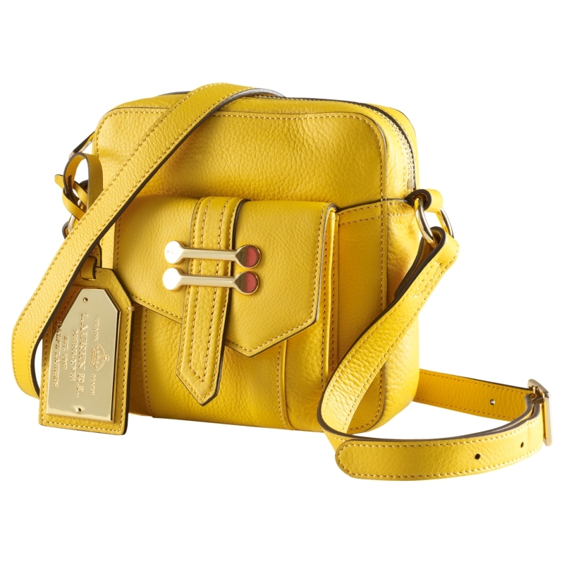 Bermondsey Small Across Body Handbag, Yellow - predominant colour: yellow; type of pattern: standard; style: messenger; length: across body/long; size: small; material: leather; pattern: plain
