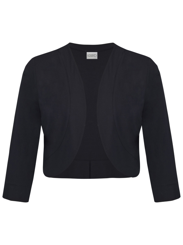 Jersey Bolero, Black - pattern: plain; style: bolero/shrug; collar: shawl/waterfall; length: cropped; fit: slim fit; predominant colour: black; occasions: evening, work, occasion; fibres: polyester/polyamide - 100%; material texture: jersey; sleeve length: 3/4 length; sleeve style: standard; collar break: low/open; pattern type: fabric; pattern size: standard; texture group: jersey - stretchy/drapey