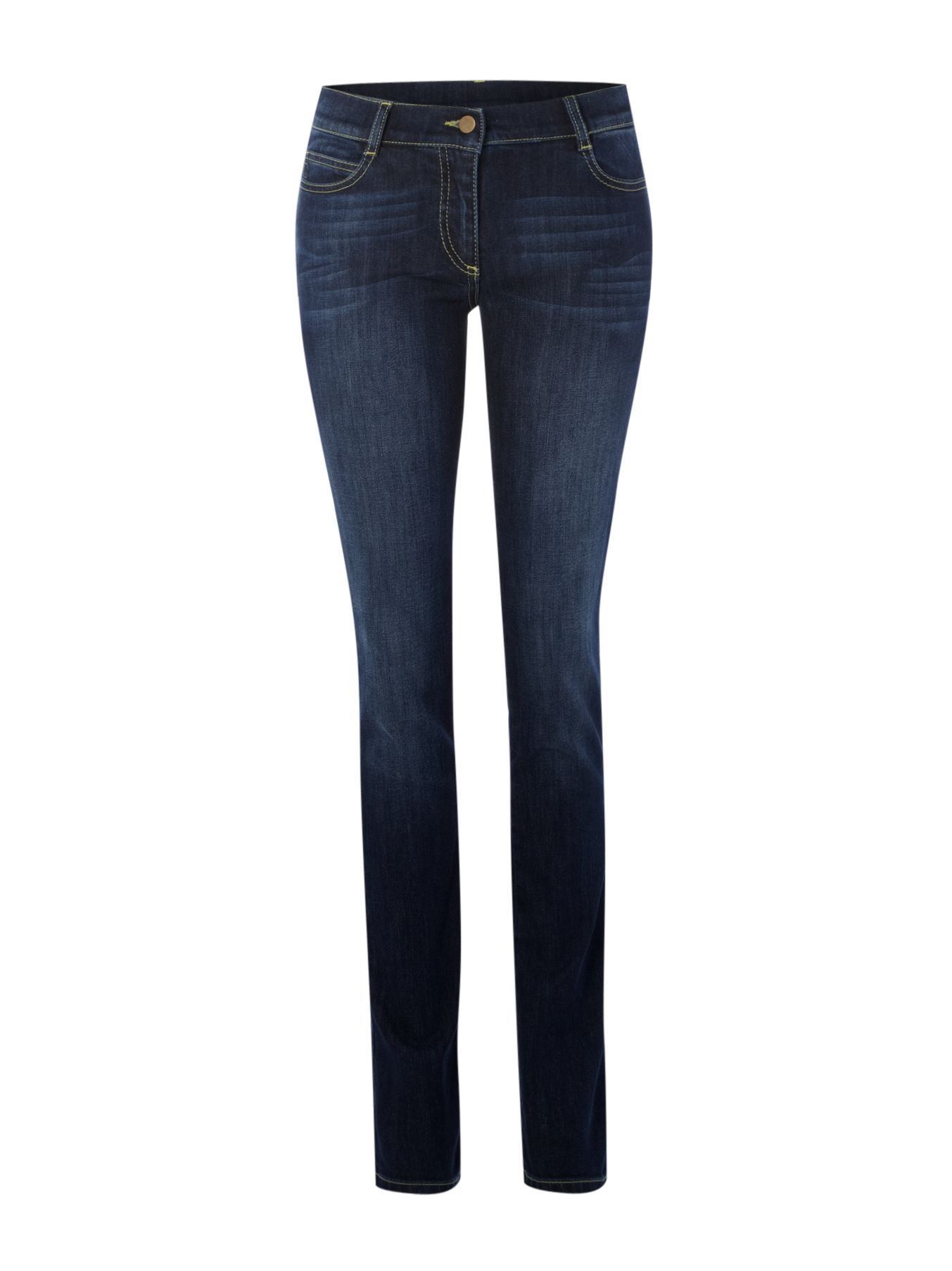Women's The High Waist Skinny Jean, Denim Indigo - length: standard; pattern: plain; pocket detail: traditional 5 pocket; style: slim leg; waist: mid/regular rise; predominant colour: navy; occasions: casual; fibres: cotton - mix; material texture: denim; jeans detail: whiskering, shading down centre of thigh; texture group: denim; pattern type: fabric; pattern size: standard