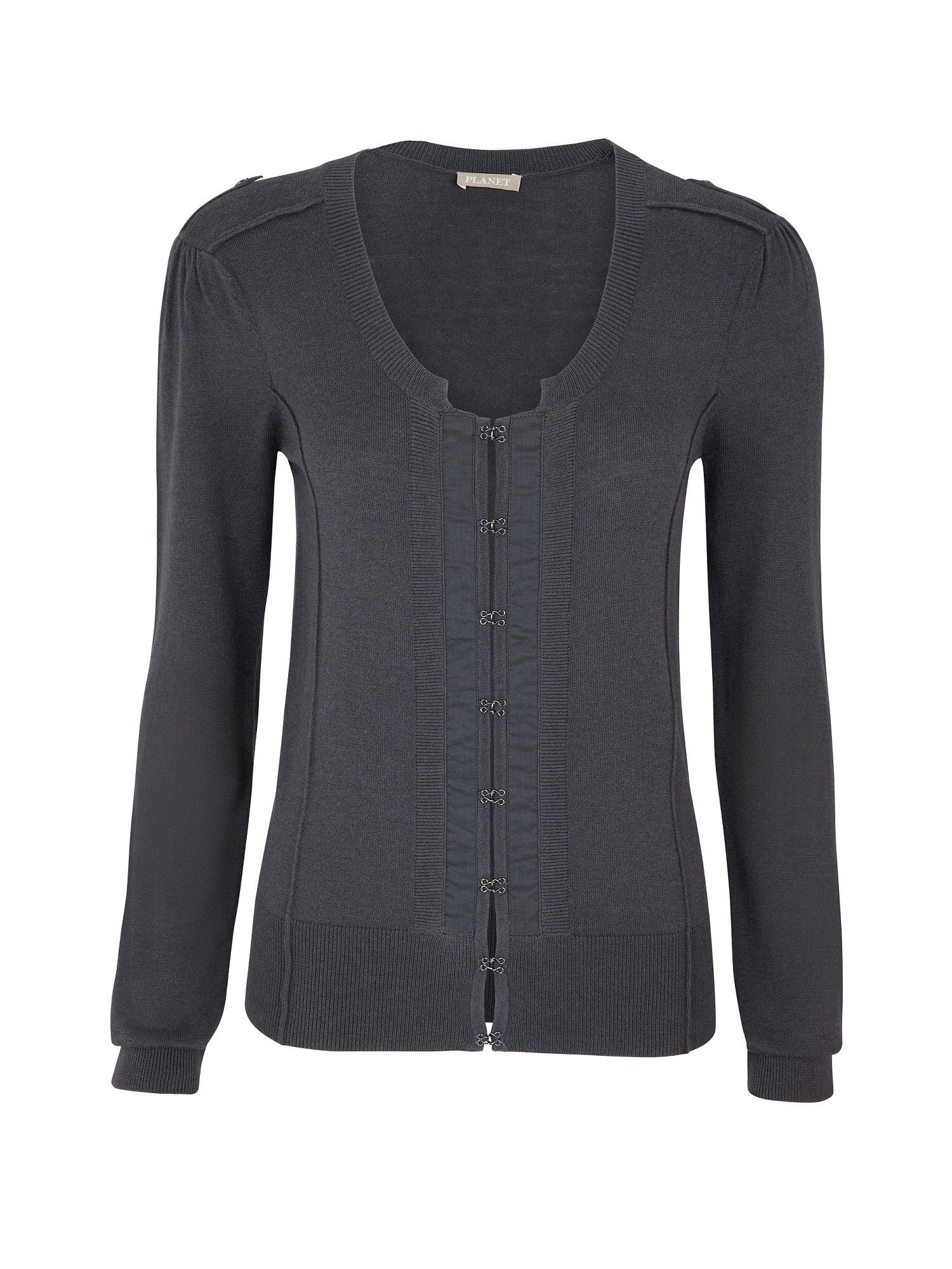 Women's Silver Military Style Cardigan, Charcoal - neckline: scoop neck; pattern: plain; style: fine knit; hip detail: fitted at hip; bust detail: buttons at bust (in middle at breastbone)/zip detail at bust; predominant colour: charcoal; occasions: casual, work; length: standard; fibres: cotton - 100%; material texture: jersey; fit: slim fit; waist detail: fitted waist; sleeve length: long sleeve; sleeve style: standard; pattern type: knitted - other; pattern size: standard; texture group: jersey - stretchy/drapey