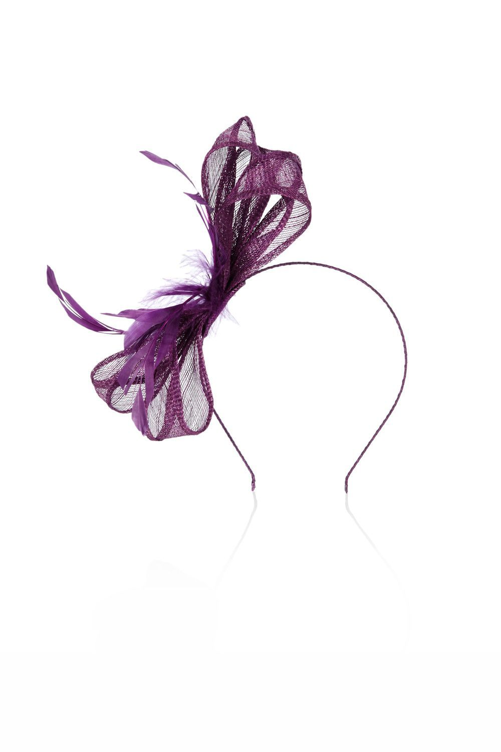 Susie Fascinator, Purple - predominant colour: aubergine; style: fascinator; size: standard; material: fabric; embellishment: feather