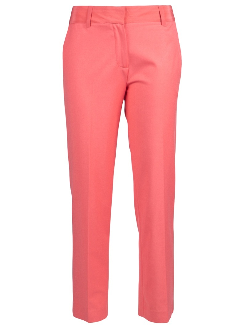 Cropped Trouser - pocket detail: small back pockets, pockets at the sides; waist detail: belted waist/tie at waist/drawstring; waist: mid/regular rise; predominant colour: coral; occasions: evening, work; length: ankle length; fibres: polyester/polyamide - mix; material texture: sateen; trends: brights; texture group: structured shiny - satin/tafetta/silk etc.; fit: slim leg; style: standard