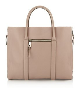 Madeleine Leather Tote - predominant colour: nude; style: tote; length: handle; size: oversized; material: leather; pattern: plain