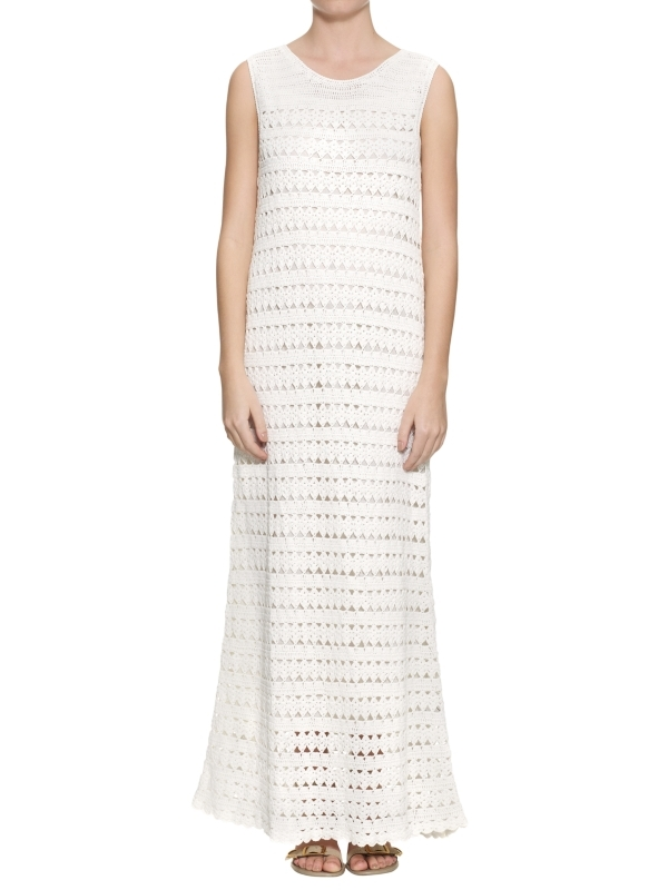Freida Crochet Midi Dress, Cream - neckline: round neck; sleeve style: sleeveless; style: maxi dress; length: ankle length; pattern: holey knit; predominant colour: ivory; occasions: casual; fit: body skimming; fibres: cotton - 100%; material texture: calico; hip detail: soft pleats at hip/draping at hip/flared at hip; sleeve length: sleeveless; texture group: cotton feel fabrics; pattern type: knitted - other; pattern size: standard