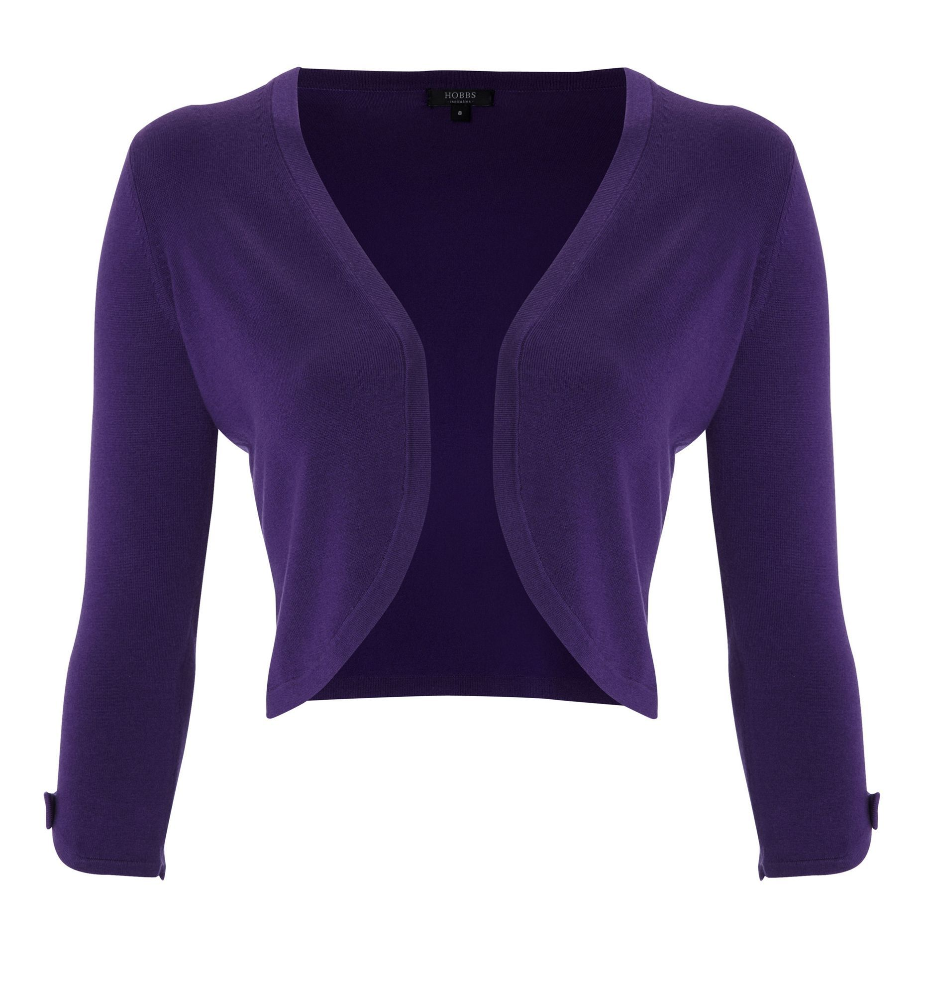 Women's Jewel Bolero, Purple - pattern: plain; style: bolero/shrug; length: cropped; neckline: collarless open; predominant colour: purple; occasions: casual, evening, work, occasion; fibres: polyester/polyamide - stretch; material texture: jersey stretch; fit: standard fit; sleeve length: 3/4 length; sleeve style: standard; texture group: jersey - clingy; pattern type: knitted - other; pattern size: standard