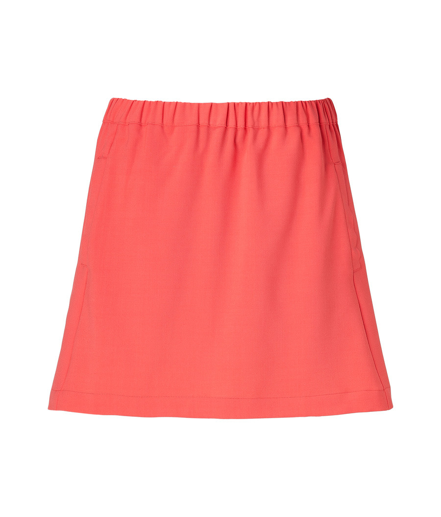 Red Skirt With Pockets - length: mini; pattern: plain; fit: body skimming; waist detail: elasticated waist, fitted waist; waist: high rise; hip detail: fitted at hip; predominant colour: coral; occasions: casual, evening; style: a-line; fibres: polyester/polyamide - mix; material texture: jersey; trends: brights; pattern type: fabric; pattern size: standard; texture group: jersey - stretchy/drapey