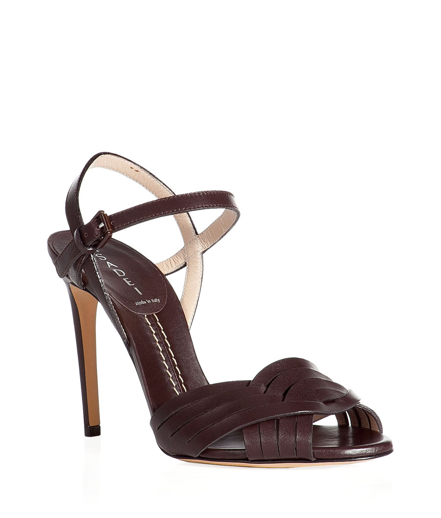 Sweet Cocoa Ankle Strap Sandals - predominant colour: chocolate brown; material: leather; heel height: high; embellishment: buckles; ankle detail: ankle strap; heel: stiletto; toe: open toe/peeptoe; style: standard