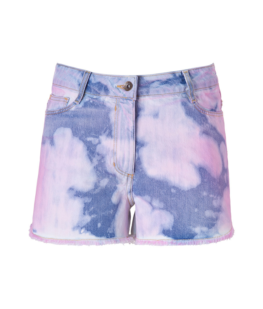 Denim And Rose Tie Dye Jean Shorts - style: shorts; waist detail: fitted waist, narrow waistband; pocket detail: traditional 5 pocket; length: short shorts; waist: mid/regular rise; predominant colour: denim; occasions: casual; fibres: cotton - 100%; material texture: denim; hip detail: fitted at hip (bottoms); trends: prints; texture group: denim; fit: slim leg