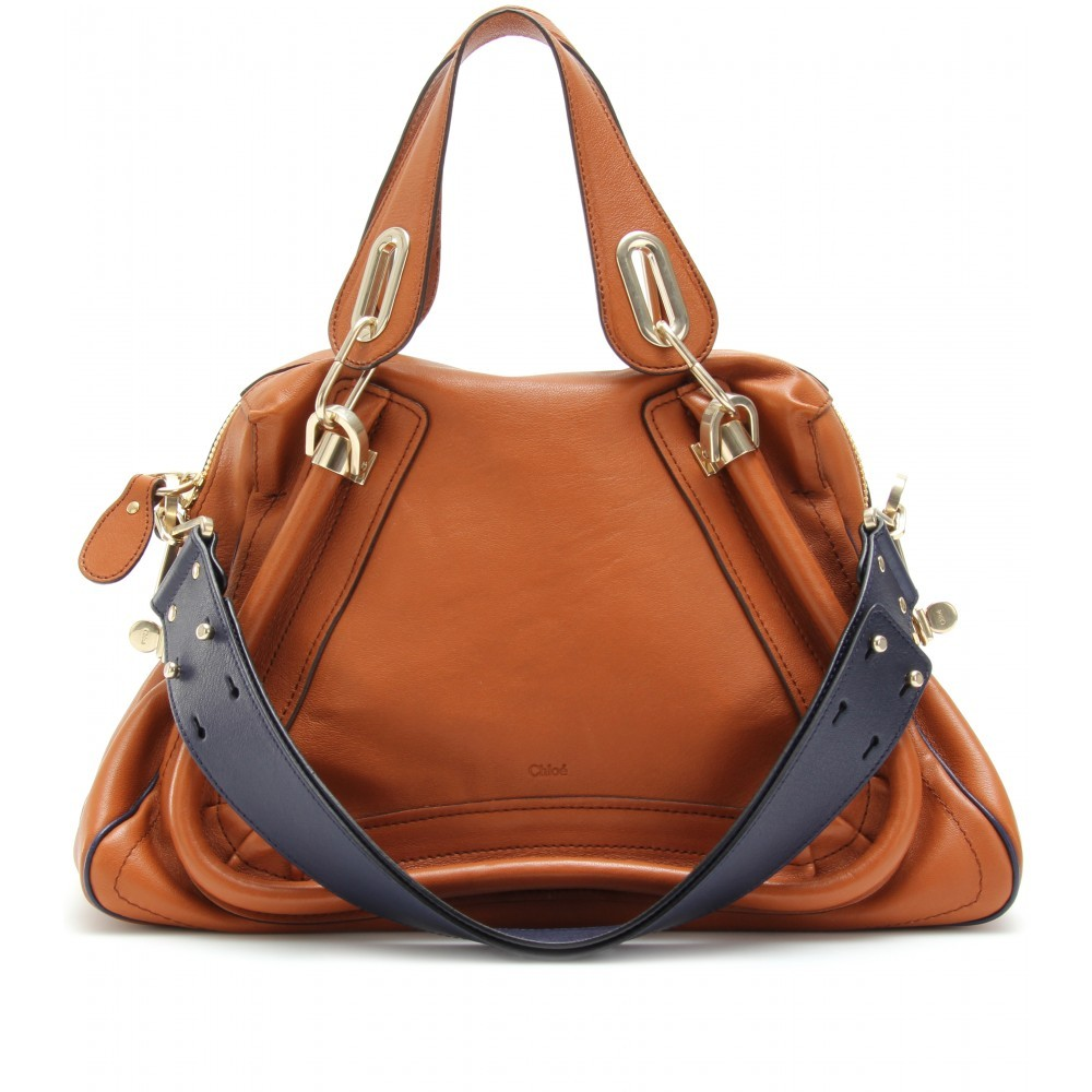 Paraty Medium Military Strap Leather Bag - predominant colour: tan; style: shoulder; length: shoulder (tucks under arm); size: oversized; material: leather; pattern: plain, two-tone