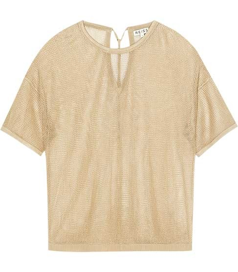 Beabea Mesh T Shirt - neckline: round neck; pattern: plain, metallic; bust detail: sheer at bust; style: t-shirt; back detail: tie detail at back, keyhole/peephole detail at back; predominant colour: gold; occasions: casual; length: standard; fibres: polyester/polyamide - 100%; material texture: metallic; fit: body skimming; trends: sports luxe; sleeve length: short sleeve; sleeve style: standard; pattern type: fabric; pattern size: standard