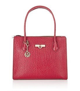 French Grain Shopper - predominant colour: true red; style: tote; length: handle; size: standard; material: leather; pattern: plain