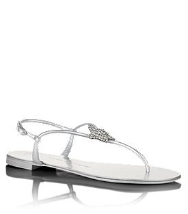 Forge Leather Sandal - predominant colour: silver; material: leather; heel height: flat; embellishment: crystals; ankle detail: ankle strap; heel: standard; toe: toe thongs; style: flip flops / toe post