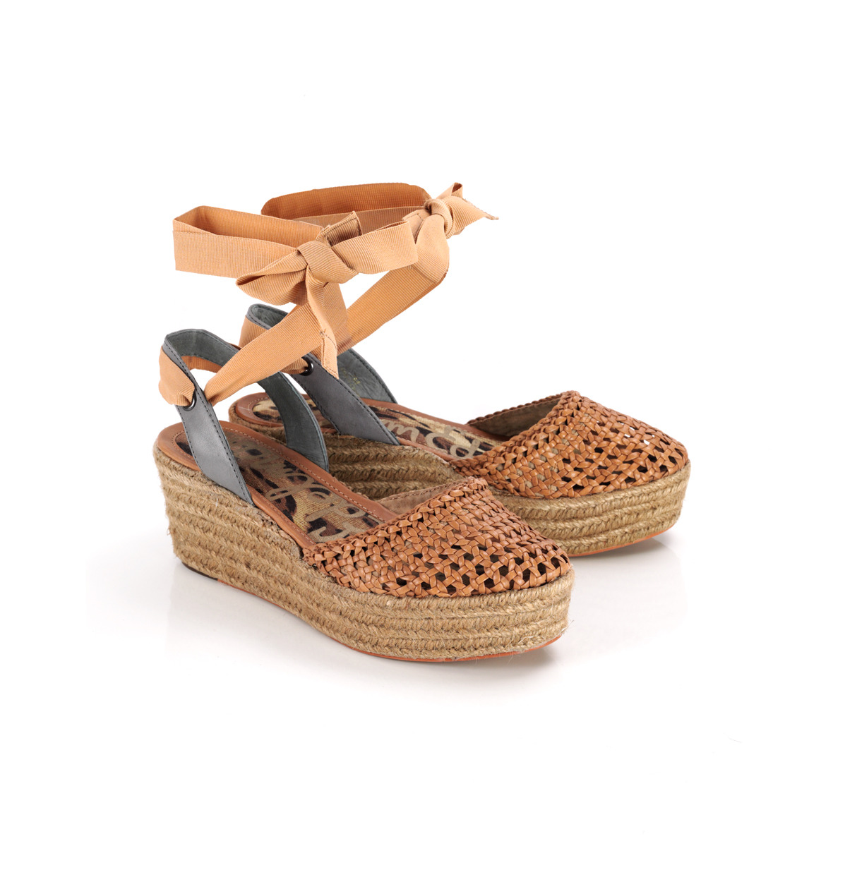 Leona Woven Wedge Sandals - predominant colour: tan; material: fabric; heel height: mid; ankle detail: ankle tie; heel: wedge; style: standard