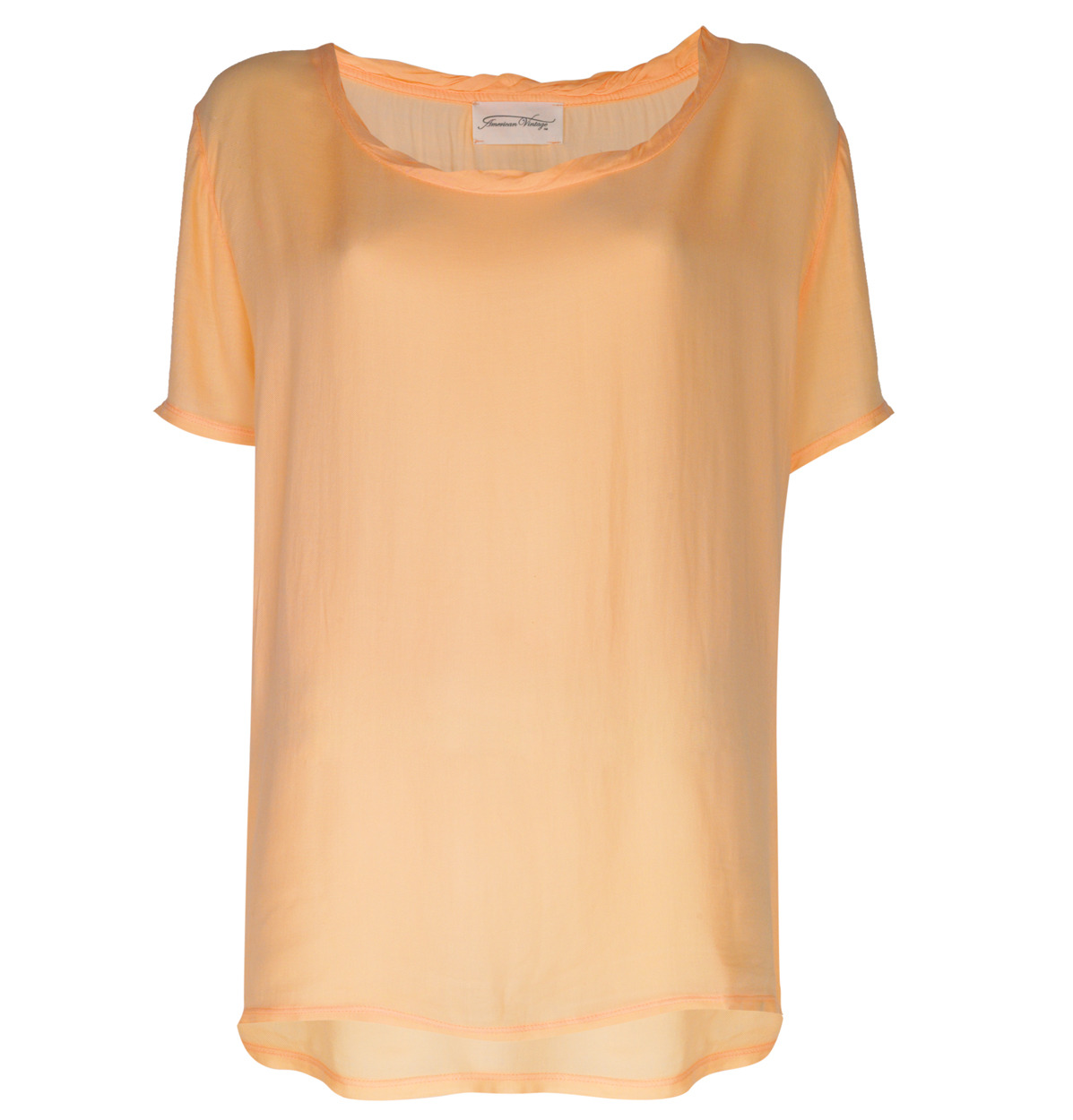 Round Neck Top - neckline: round neck; pattern: plain; length: below the bottom; style: t-shirt; predominant colour: coral; occasions: casual; fibres: polyester/polyamide - 100%; material texture: denim; fit: loose; back detail: longer hem at back than at front; trends: pastels; sleeve length: short sleeve; sleeve style: standard; texture group: denim; pattern type: fabric; pattern size: standard