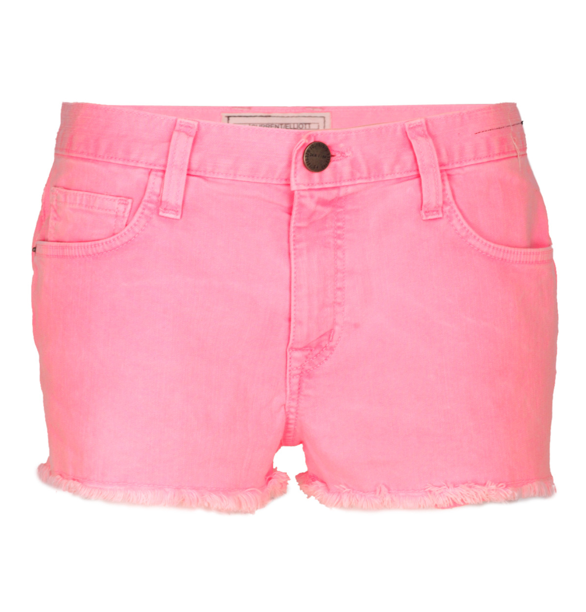 Current/Elliott The Boyfriend Denim Shorts - style: shorts; pocket detail: traditional 5 pocket; length: short shorts; waist: mid/regular rise; predominant colour: pink; occasions: casual; fibres: cotton - stretch; material texture: denim; waist detail: narrow waistband; trends: brights; texture group: denim; fit: slim leg