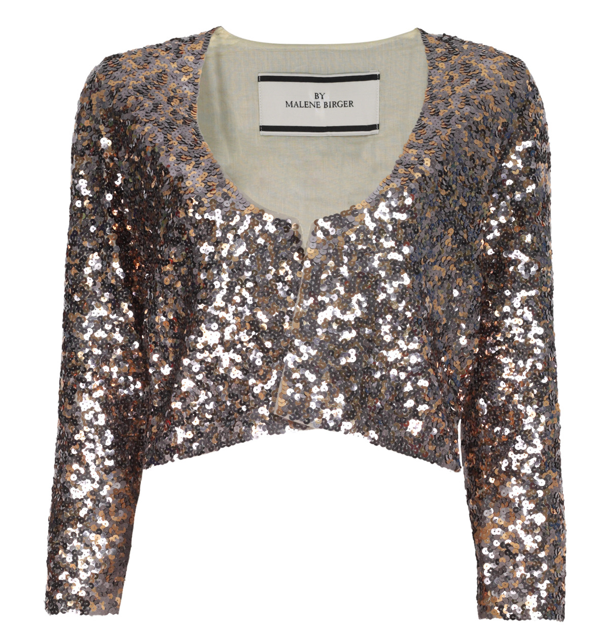 Mastyka Sequinned Embellished Jacket - pattern: plain; collar: round collar/collarless; length: cropped; style: boxy; occasions: evening, occasion; fit: straight cut (boxy); fibres: polyester/polyamide - stretch; material texture: metallic; predominant colour: multicoloured; sleeve length: 3/4 length; sleeve style: standard; collar break: high; pattern type: fabric; pattern size: standard; embellishment: sequins