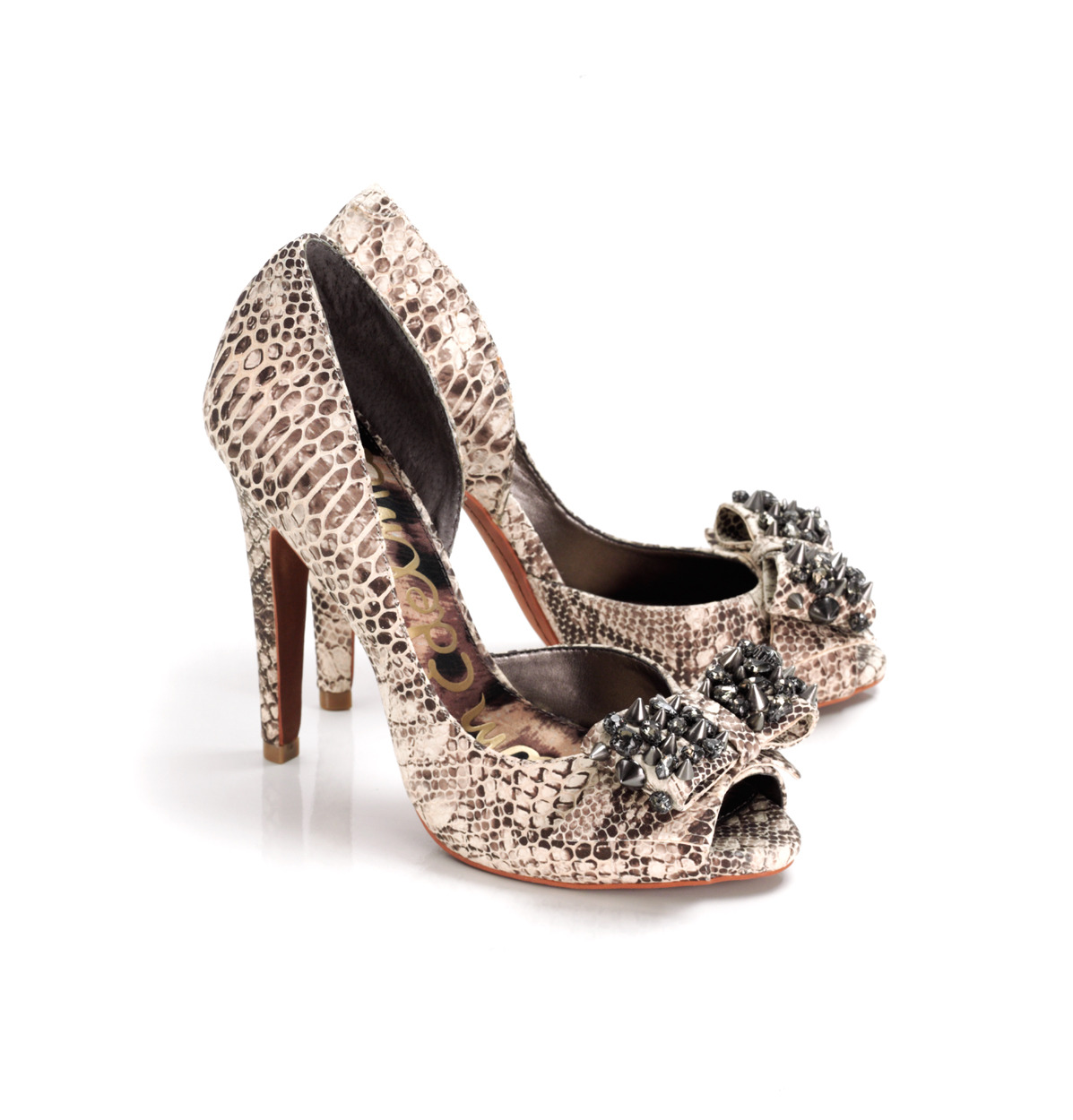 Lorna Animal Skin Studded Shoes - predominant colour: ivory; material: leather; heel height: high; embellishment: animal print, crystals, studs; heel: stiletto; toe: open toe/peeptoe; style: courts; pattern: animal print