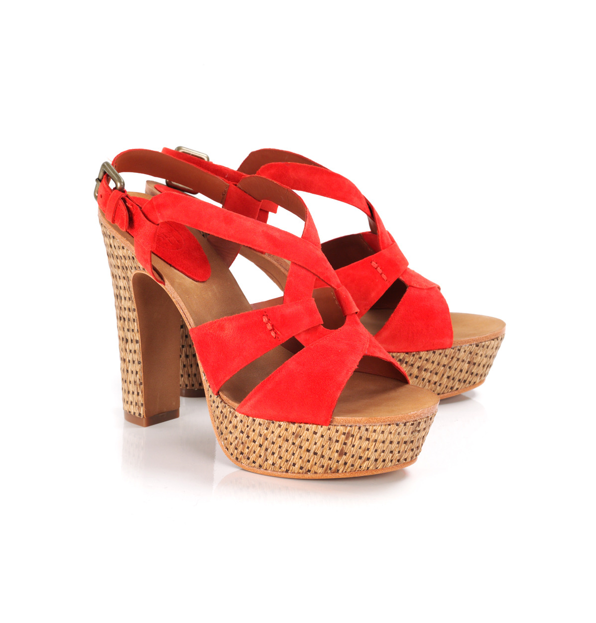 Delirium Woven Sandals - predominant colour: bright orange; material: patent; heel height: high; ankle detail: ankle strap; heel: platform; toe: open toe/peeptoe; style: strappy; finish: patent