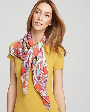 Farfalla Large Silk Twill Scarf - predominant colour: multicoloured; type of pattern: heavy; style: square; size: large; material: silk; pattern: abstract, graphic print, patterned/print