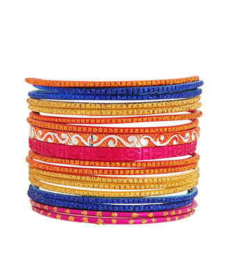 Set Of 18 Glittered Bangles - predominant colour: multicoloured; style: bangle; size: small; material: plastic/rubber