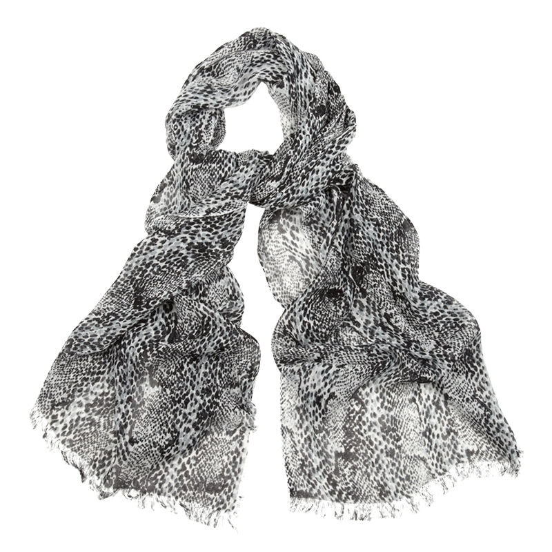 Snake Print Scarf, Print - predominant colour: mid grey; type of pattern: standard; style: regular; size: standard; material: fabric; pattern: animal print